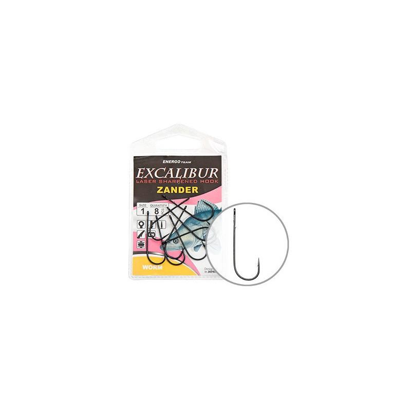 Energofish Excalibur Zander worm black udice 6 kom   veličina 2/0