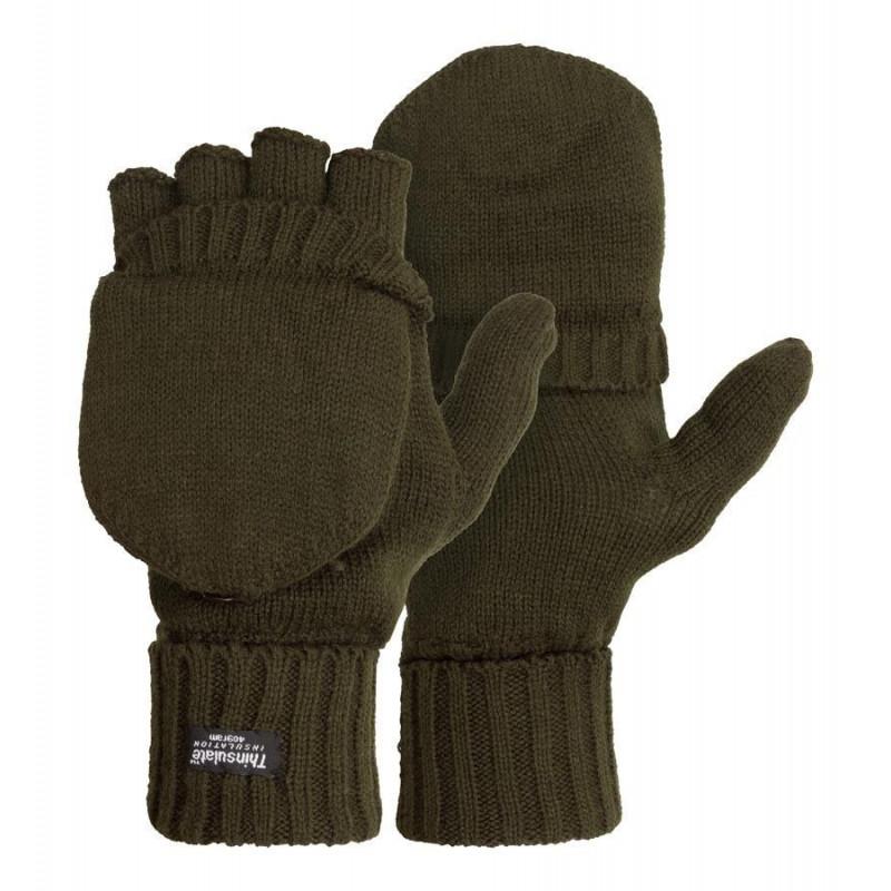 M-Tramp Thinsulate rukavice | preklopne, zelene